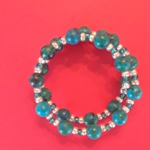 Turquoise and silver wrap bracelet